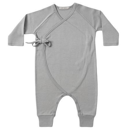 KIDS Tane Organics Baby Kimono Romper - Graphite Grey