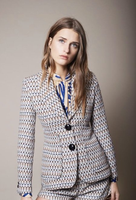 Smythe Portrait Neck Blazer - Graphic Tweed