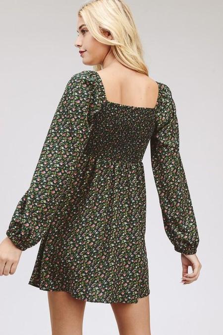 CloudWalk Ava Floral Tie-Front Dress - Green