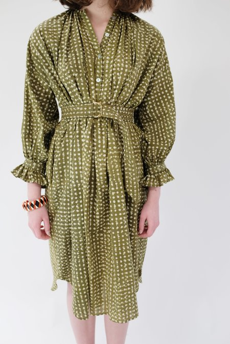 Heinui Dino Dress - Olive Green Dots