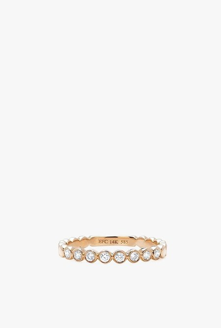 EF Jewelry Bezel Diamond Stack Ring - 14k Rose Gold/White Diamonds