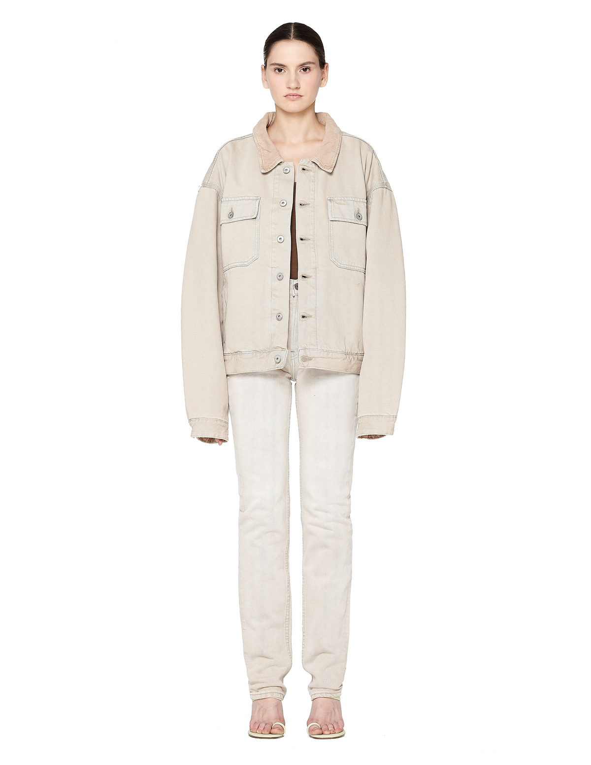 Pockets Denim Jeans - Beige | Garmentory