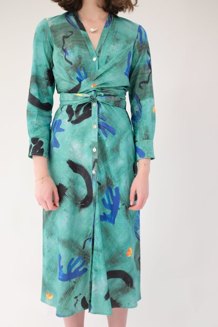 Heinui Leonard Dress - Green Collage Print