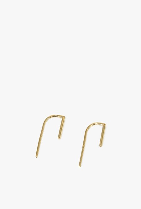 Honey & Bloom Bar Hook Threader Earrings - Gold Vermeil