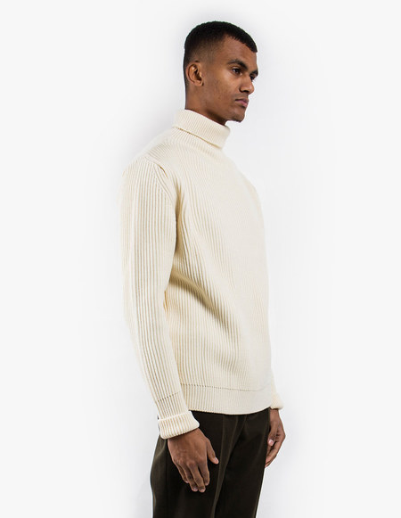 Andersen-Andersen Navy Turtleneck Symmetrical - Off White