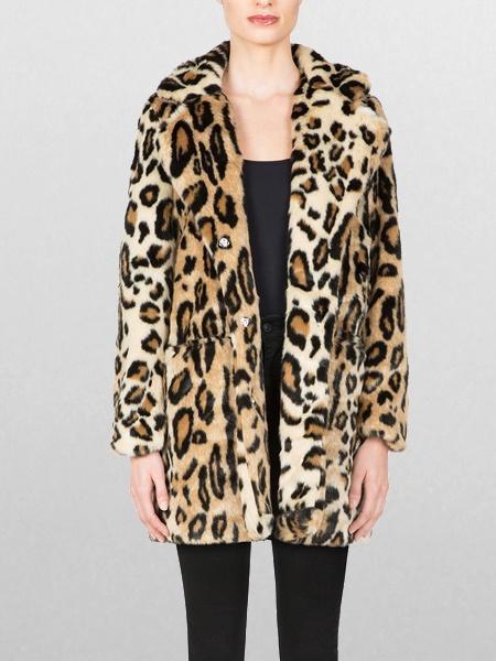 Apparis Margot Faux Fur Coat - Leopard