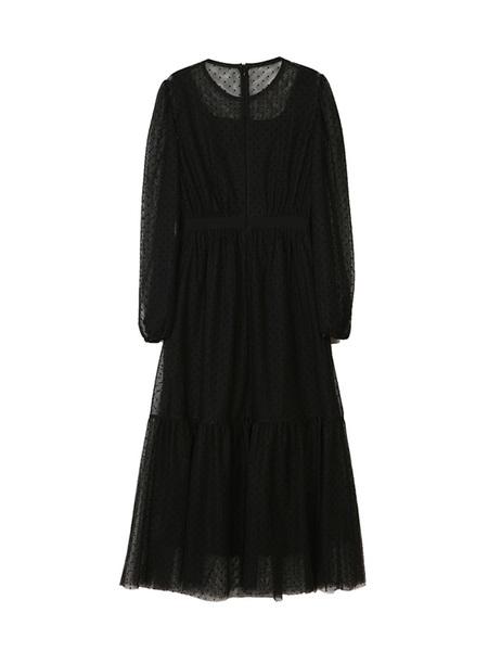 DEBB Dot Mesh Long Dress - Black