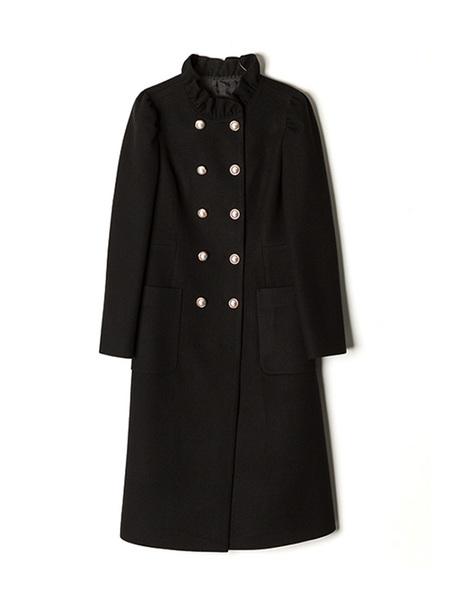 DEBB Pearl Button Maxi Coat - Black