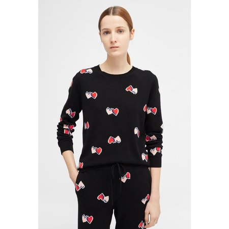 Chinti and Parker All Over Twin Heart Sweater - Black/Multi