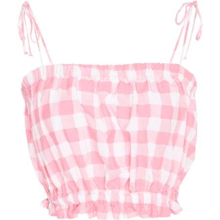 MDS Stripes Cropped Cami - Hot Pink Check