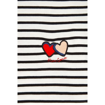 Chinti and Parker Long Sleeve Twin Heart T-Shirt - Ivory/Back