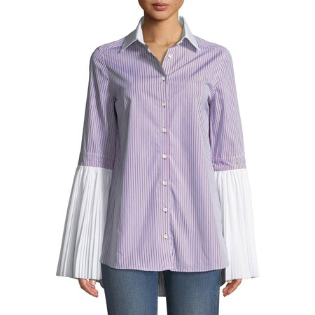 Monographie Pleated Long Sleeve Shirt - Red/Blue/White Stripe