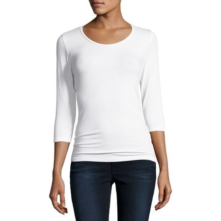 Majestic Filatures Soft Touch Three-Quarter Sleeve Scoop Neck - WHITE
