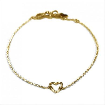 Gag et Lou Outline Heart Charm Bracelet - Gold
