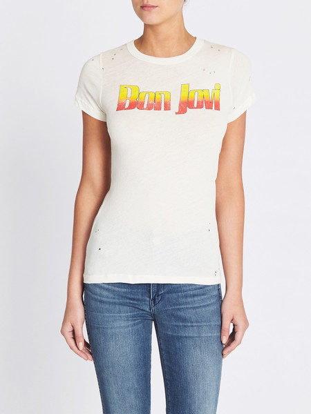 Chaser LA Bon Jovi Vintage Style Logo Tee - Vintage White