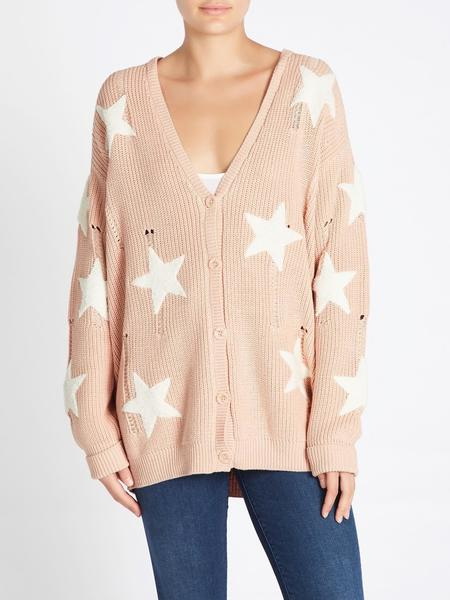 Zoe Karssen Embroidered Stars Oversized Cardigan - pink