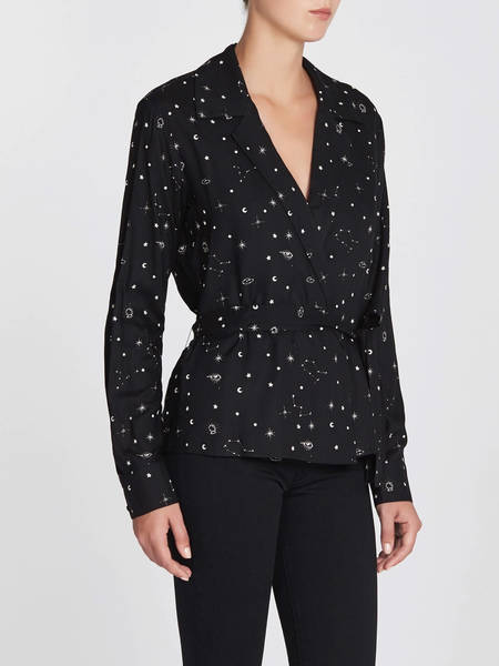 Paige Romana Blouse - Black Sandyshell Constellation