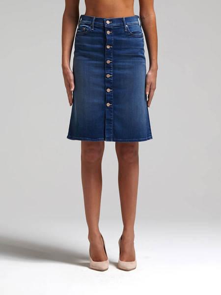 Mother Denim The High Waisted Button Midi Skirt - Blue