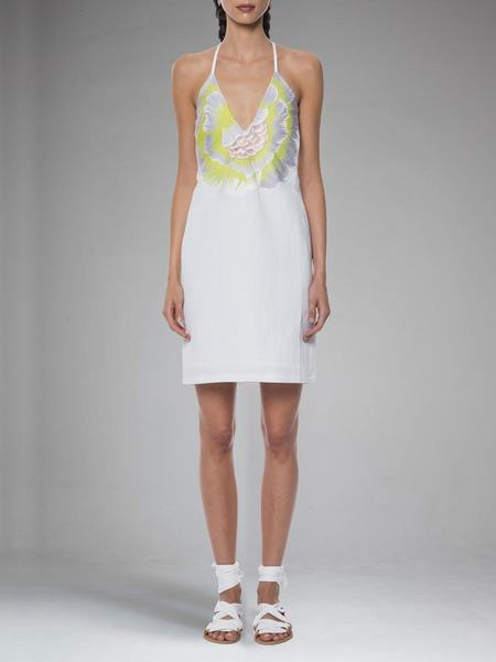 Mara Hoffman Flower Embroidered V Neck Dress