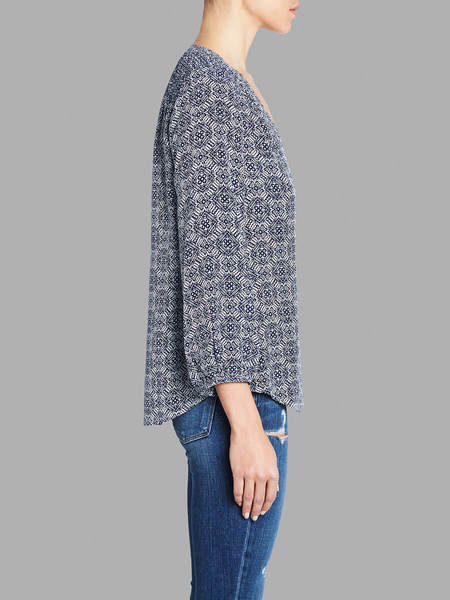 Joie Axel Printed 3/4 Blouse - Blue/White