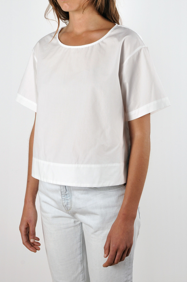 Waltz Drop Shoulder T-shirt | White Cotton Poplin