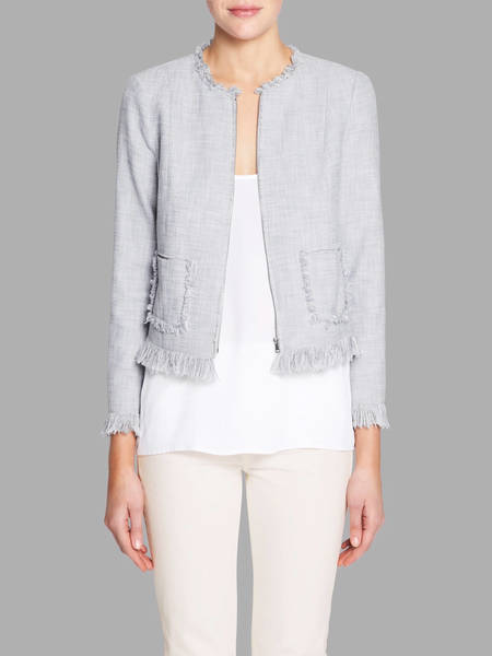 Rebecca Taylor Slub Suiting Jacket - Dove Grey