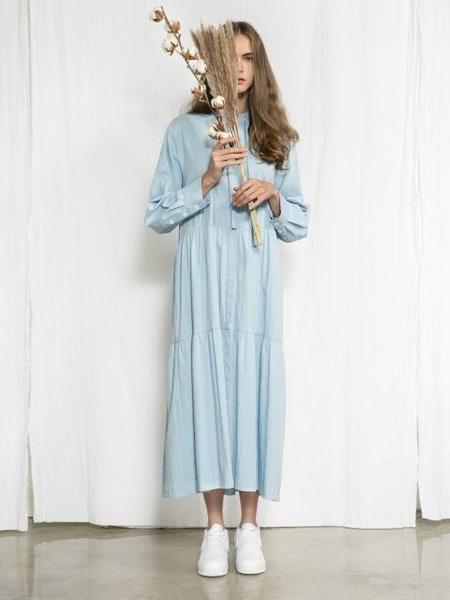 JOSEPH AHN Long Shirring Dress - Sky Blue