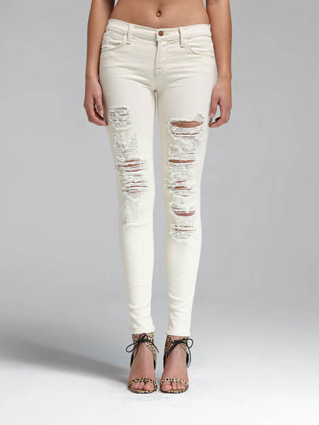 J Brand Super Skinny Mid Rise Jean - Cream