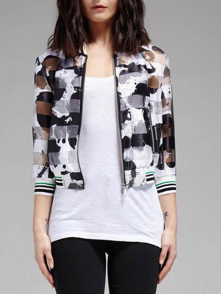 Rebecca Minkoff Lola Bomber Jacket - Black/White