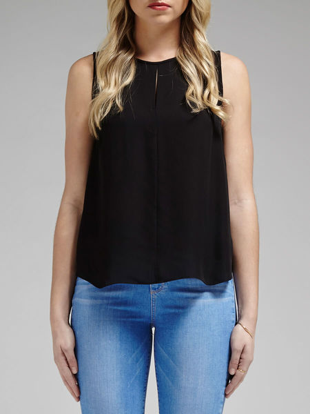 Rebecca Minkoff Double Georgette Trina Top - Black