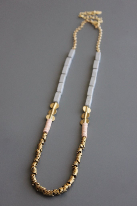 David Aubrey Inc Marble and Vulcanite Long Necklace