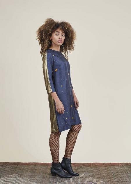 La Prestic Ouiston Silk Sport Dress - Navy/Gold