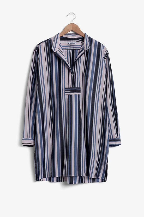 The Sleep Shirt Short Sleep Shirt Blue and Pink Stripe