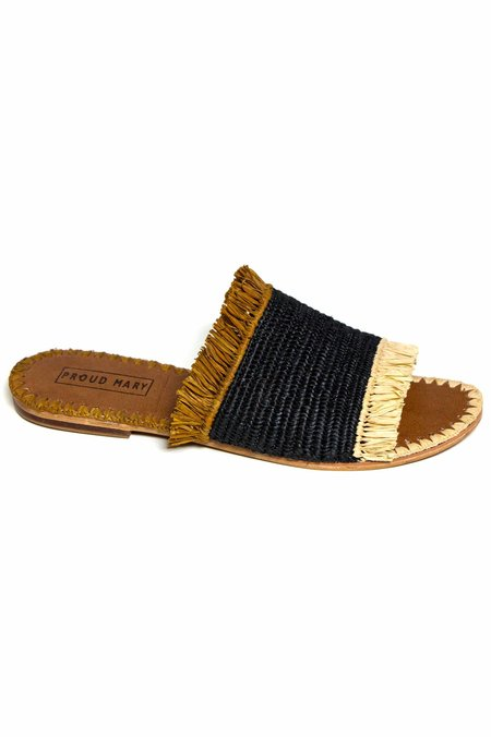 Proud Mary Raffia Desert Fringe Slide Sandal - Ivory/Brown