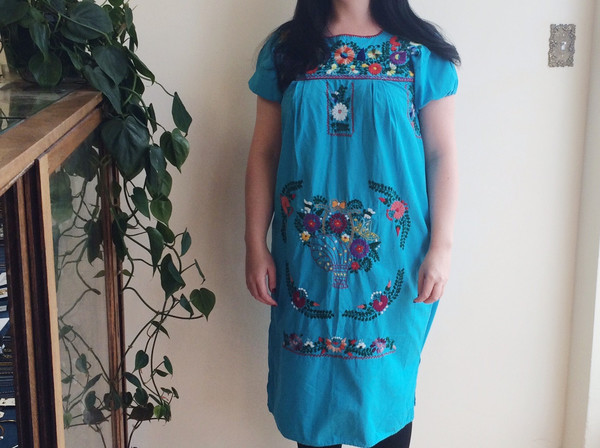 Steel Magnolias Vintage Embroidered Blue Muumuu