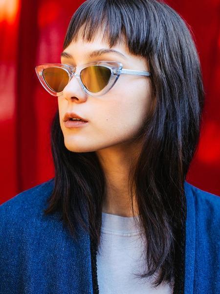 Chimi 006 Litchi Cat Eye Sunglasses - Clear/Black Lens