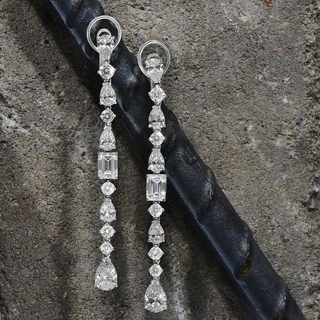 Diamond Dream Signature Collection Signature Emerald Cut and Pear Shape Diamond Earrings - 18k White Gold