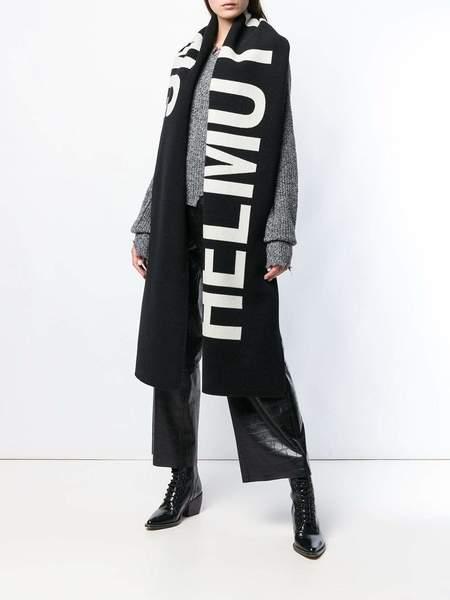 unisex HELMUT LANG Large Logo Scarf - black