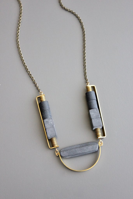 David Aubrey Inc Black Agate Long Necklace