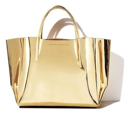 Ampersand As Apostrophe Half Tote - Gold Mirror