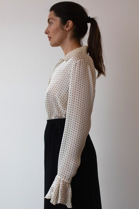 Mixed Business Vintage Silk Blouse - Polka Dot