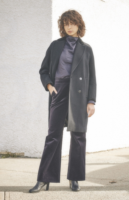 NUVO10 VELVET lining WOOL COAT - Gray