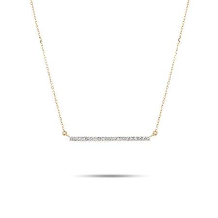 Adina Reyter Large Pave Bar Necklace - White Diamond