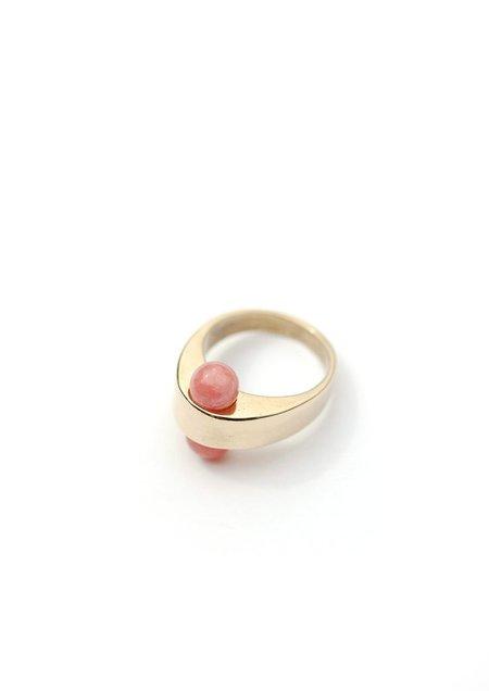 Tiro Tiro Foro Ring - BRASS/ROSE QUARTZ