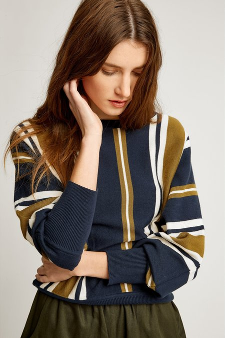 People Tree Shola Stripe Jumper - olive/navy