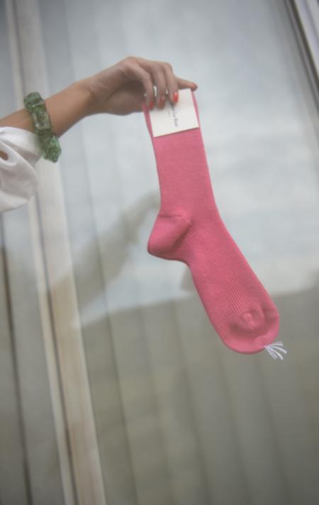Maria La Rosa Ribbed Wool Sock - Hot Pink