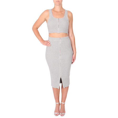 T By Alexander Wang Ribbed Midi Pencil Skirt