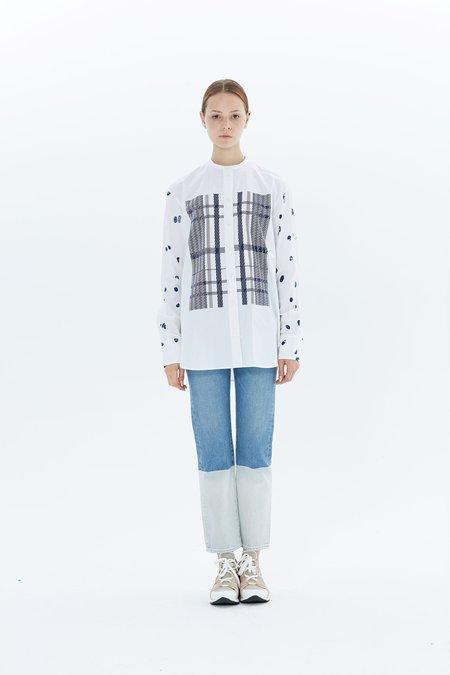 Ports 1961 Long Sleeve Shirt PW118HLS69 FCOP077 - White/Blue