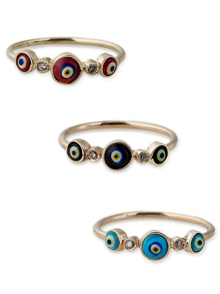 Jacquie Aiche 2 Diamond 3 Eye Ring - YELLOW GOLD