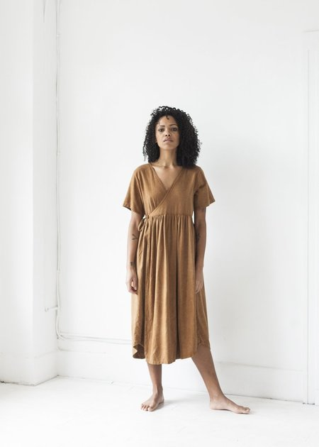 Bees and Bones Hawthorne Raw Silk Dress - Persimmon